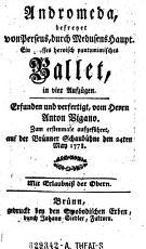 Andromeda  befreyet von Perseus  durch Medusens Haupt      Ballet  in 4 Aufz PDF