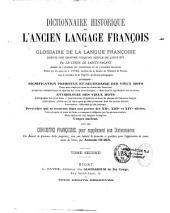 Dictionnaire historique de l'ancien langage françois: ou Glossaire de la langue françoise depuis son origine jusqu'au siècle de Louis XIV, Volume2