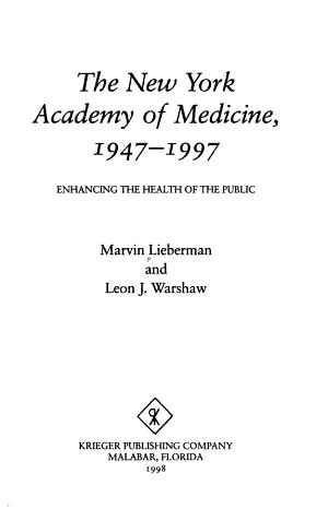The New York Academy of Medicine  1947 1997 PDF
