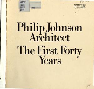 Philip Johnson  Architect PDF
