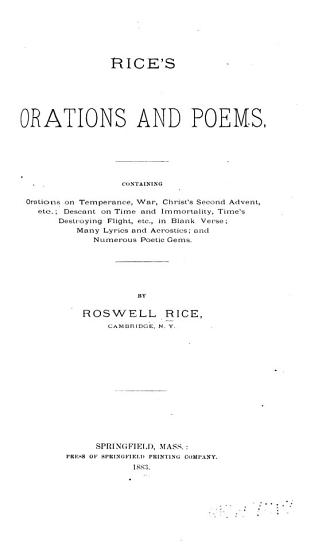 Rice s Orations and Poems PDF