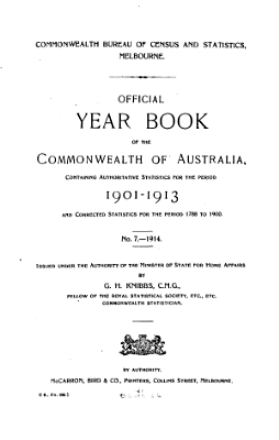 Official Year Book of the Commonwealth of Australia No  7   1914 PDF