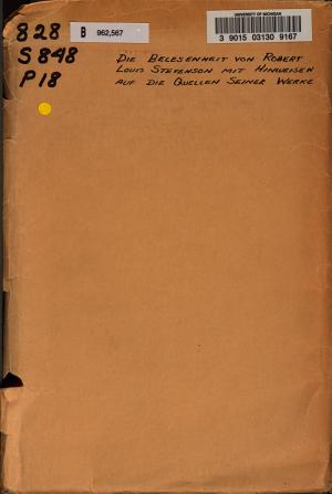 Die Belesenheit von Robert Louis Stevenson mit Hinweisen auf die Quellen seiner Werke PDF
