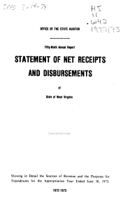 Report  on  Statement of Net Receipts and Disbursements  of  State of West Virginia PDF