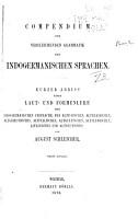 Compendium der vergleichenden grammatik der indogermanischen sprachen PDF
