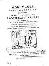 Monumenta Graeca, et Latina ex museo cl. equitis et senatoris Iacobi Nanii Veneti illustrata a d. Clem. Biagi Cremonensi ..