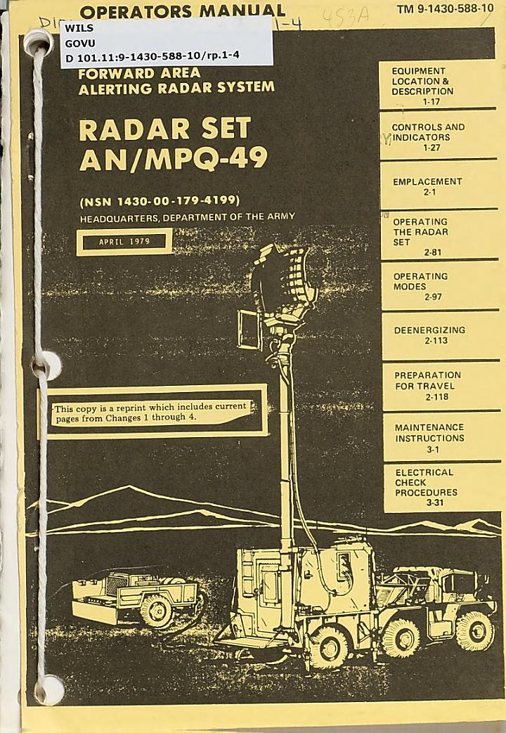 Forward Area Alerting Radar System