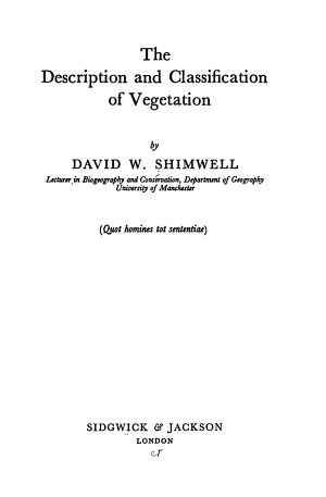 The Description and Classification of Vegetation