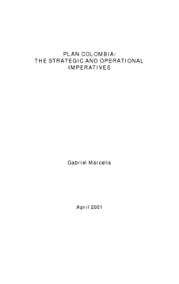 Plan Colombia  The Strategic and Operational Imperatives