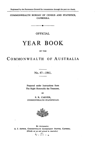 Download Official Year Book of the Commonwealth of Australia No  47   1961 Book