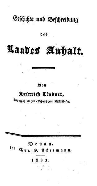 Geschichte Und Beschreibung Des Landes Anhalt