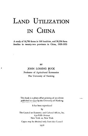 Land Utilization in China PDF