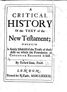 A Critical History of the Text of the New Testament Book