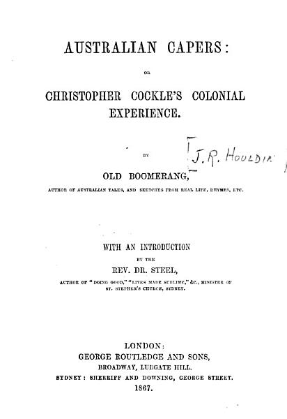 Australian Capers, Or, Christopher Cockle's Colonial Experience