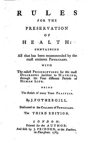 Rules for the preservation of health     The third edition PDF