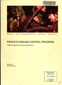 Draft Environmental Impact Report for the Pierce s Disease Control Program  California Department of Food and Agriculture PDF