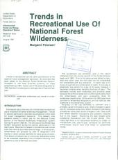 Trends in recreational use of national forest wilderness