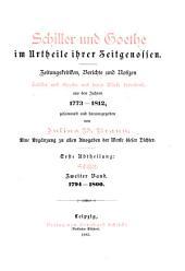 Schiller im urtheile seiner zeitgenossen: bd. 1794-1800
