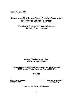 Structured Simulation based Training Programs