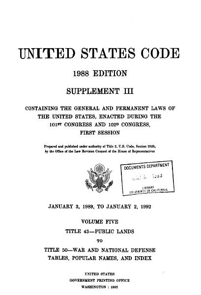 Download United States Code  Title 43  Public lands to title 50  war and national defense tables  popular names  and index Book