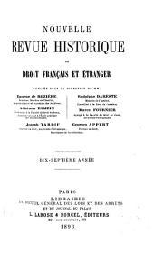 Revue historique de droit français et étranger: Volume17