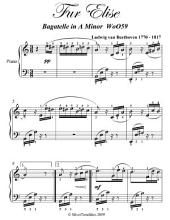 Fur Elise Elementary Piano Sheet Music