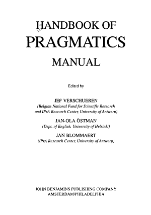Handbook of Pragmatics