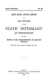 Annual Report of the Trustees of the State Infirmary at Tewksbury