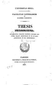 De Platonica idearum doctrina qualem eam fuisse tradit Aristoteles: et de iis quae Aristoteles in hac reprehendit