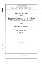 Medical Statistics, U.S. Navy: Statistical Report of the Surgeon General, U.S. Navy