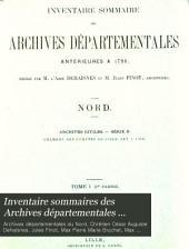 Inventaire sommaires des Archives départementales antérieures à 1790, Nord: Archives civiles, Volume1,Partie1