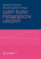Judith Butler  P  dagogische Lekt  ren PDF