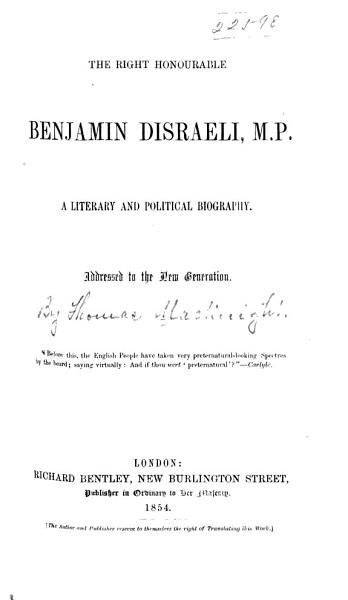 Download The Right Honourable Benjamin Disraeli  M  P  Book