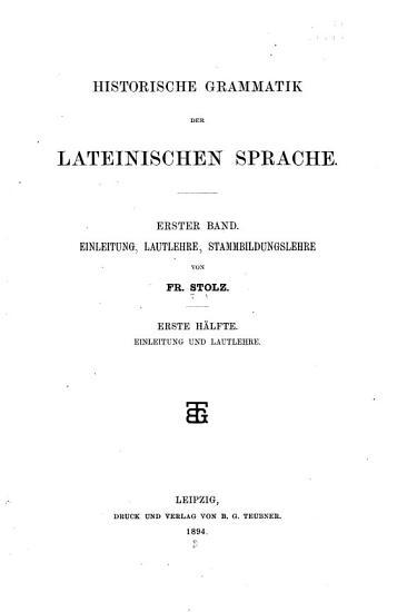 Historische Grammatik der lateinischen Sprache PDF