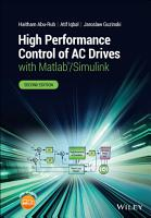 High Performance Control of AC Drives with Matlab Simulink PDF