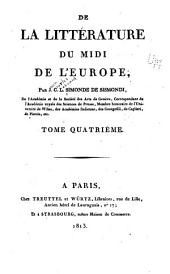 De la littérature du midi de l'Europe: Volume 4