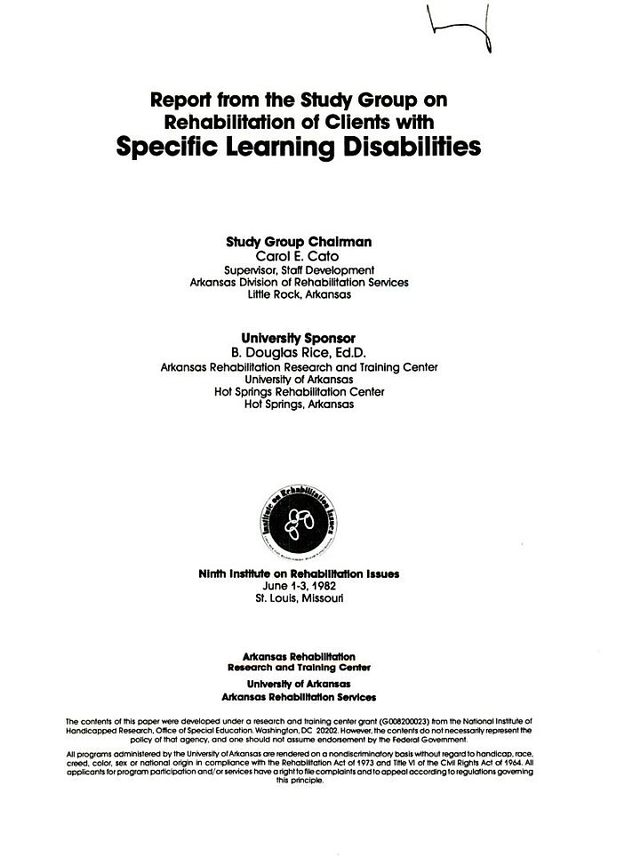 Report from the Study Group on Rehabilitation of Clients with Specific Learning Disabilities