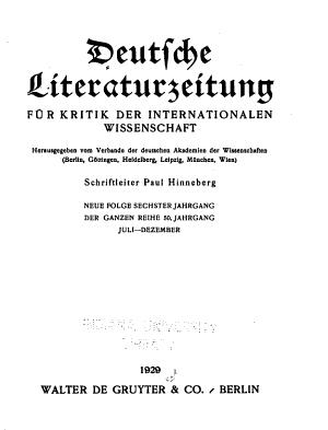 Deutsche Literaturzeitung  Wochenschrift f  r Kritik der Internationalen Wissenschaft PDF