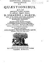Disputatio juridica inauguralis de quaestionibus ...