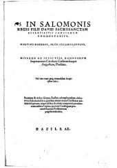 Martini Borrhai In Salomonis regis filii David sacrosanctam ecclesiastis concionem commentarius