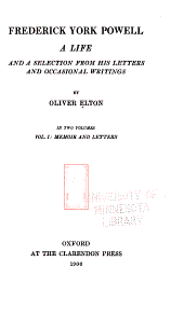 Memoir and letters.- 2. Occasional writings