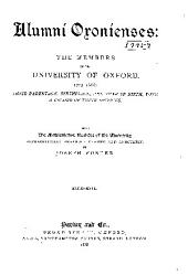 Alumni Oxonienses: The Members of the University of Oxford, 1715-1886 ...