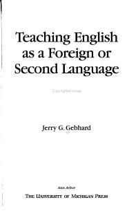 Teaching English as a Foreign Or Second Language