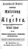 Vollst  ndige Anleitung zur Algebra PDF