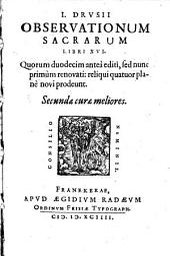 Observationes sacrae: lib. XVI.