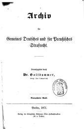 Archiv für gemeines deutsches und für preußisches Strafrecht: Band 1