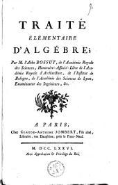 Traité élémentaire d'algébre