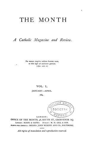 THE MONTH  A CATHOLIC MAGAZINE AND REVIEW