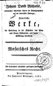 Mosaisches Recht: Band 1