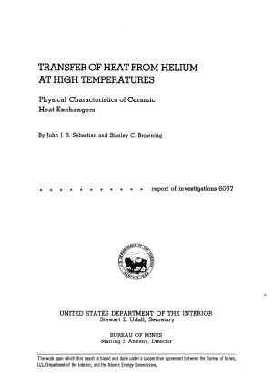 Transfer of Heat from Helium at High Temperatures PDF